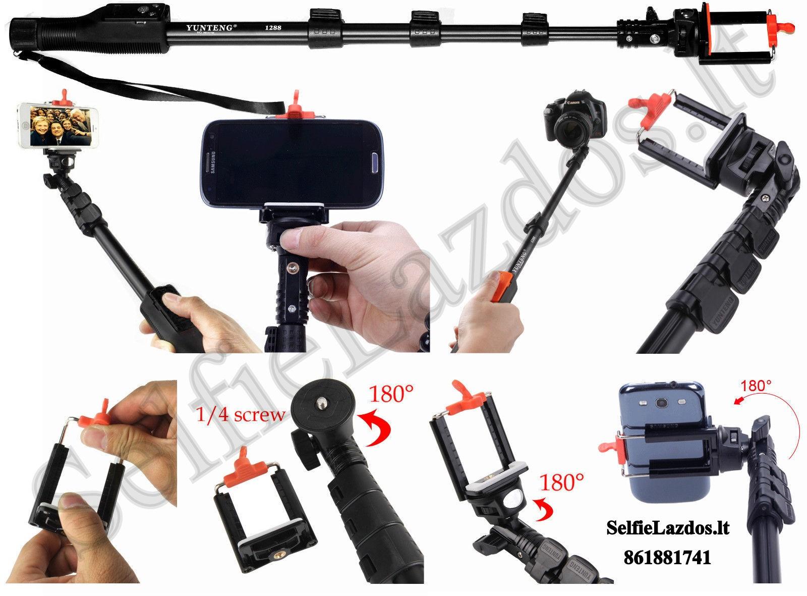 go pro teleskopinė lazda, kameros laikiklis, selfie lazda su pulteliu, selfie lazda su bluetooth, teleskopinis laikiklis