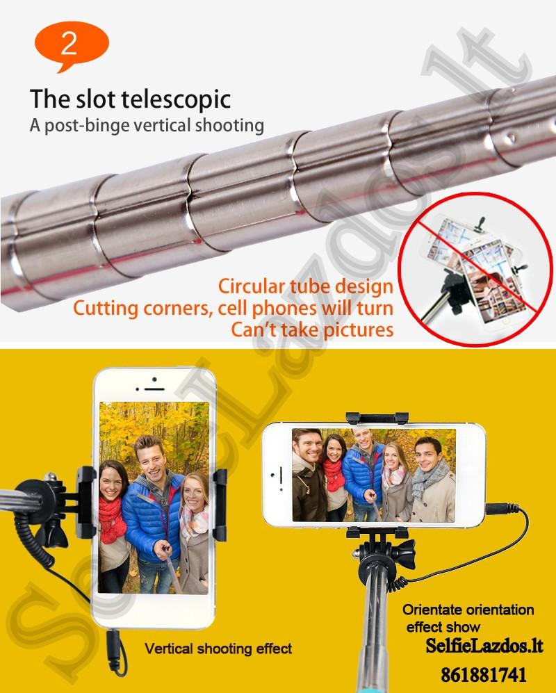selfie lazda, selfie lazdos, asmenukiu teleskopinė lazda, laidine asmenukiu lazda, asmenukiu lazda su laidu, kameros laikiklis, teleskopinis laikiklis, lazda kamerai, go pro lazda, kameros laikiklis, gopro priedai, go pro priedai